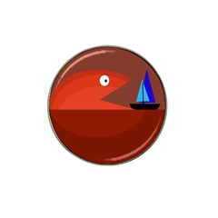Red monster fish Hat Clip Ball Marker