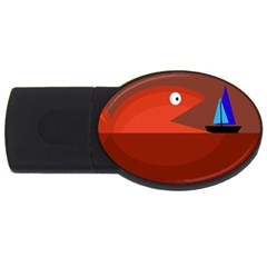 Red monster fish USB Flash Drive Oval (4 GB)