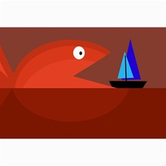 Red Monster Fish Collage Prints
