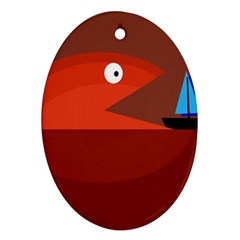 Red Monster Fish Oval Ornament (two Sides)