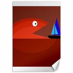 Red monster fish Canvas 12  x 18