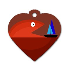 Red monster fish Dog Tag Heart (One Side)