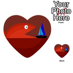 Red monster fish Multi-purpose Cards (Heart)
