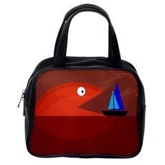 Red monster fish Classic Handbags (One Side)