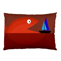 Red monster fish Pillow Case