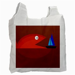 Red monster fish Recycle Bag (One Side)
