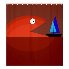Red monster fish Shower Curtain 66  x 72  (Large)