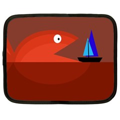 Red monster fish Netbook Case (XL)