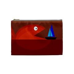 Red monster fish Cosmetic Bag (Medium)