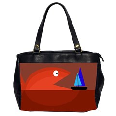 Red monster fish Office Handbags (2 Sides)