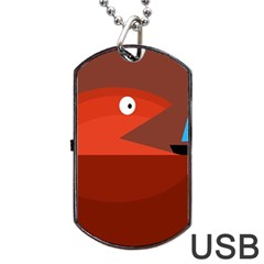 Red monster fish Dog Tag USB Flash (Two Sides)