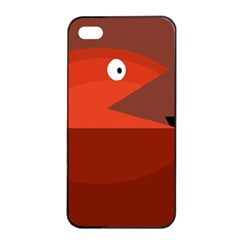 Red monster fish Apple iPhone 4/4s Seamless Case (Black)