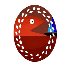 Red monster fish Ornament (Oval Filigree)