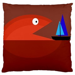 Red monster fish Large Cushion Case (One Side)