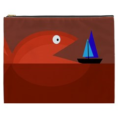Red monster fish Cosmetic Bag (XXXL)