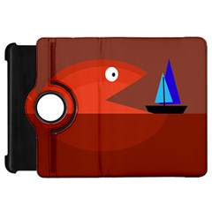Red monster fish Kindle Fire HD Flip 360 Case