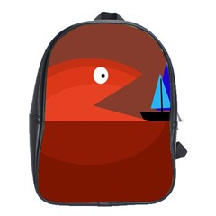 Red monster fish School Bags (XL)