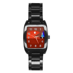 Red monster fish Stainless Steel Barrel Watch