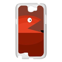 Red monster fish Samsung Galaxy Note 2 Case (White)