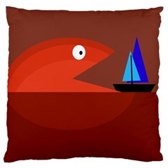 Red monster fish Large Flano Cushion Case (One Side)