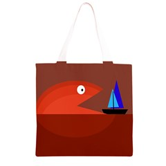 Red monster fish Grocery Light Tote Bag