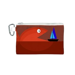 Red monster fish Canvas Cosmetic Bag (S)