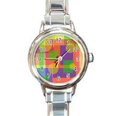 Colorful geometrical design Round Italian Charm Watch