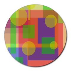 Colorful geometrical design Round Mousepads