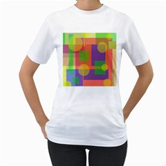Colorful geometrical design Women s T-Shirt (White) (Two Sided)