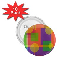 Colorful geometrical design 1.75  Buttons (10 pack)