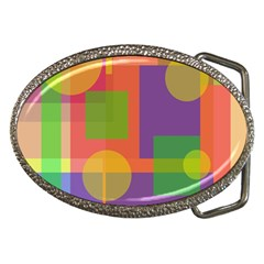 Colorful geometrical design Belt Buckles