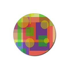 Colorful geometrical design Rubber Round Coaster (4 pack)