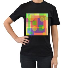 Colorful geometrical design Women s T-Shirt (Black) (Two Sided)