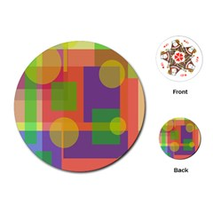 Colorful geometrical design Playing Cards (Round)