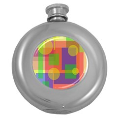 Colorful Geometrical Design Round Hip Flask (5 Oz)