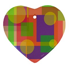 Colorful Geometrical Design Heart Ornament (2 Sides)
