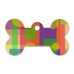 Colorful geometrical design Dog Tag Bone (One Side)