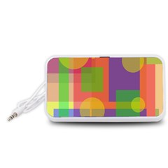 Colorful geometrical design Portable Speaker (White)