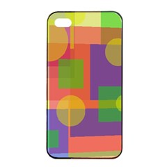 Colorful geometrical design Apple iPhone 4/4s Seamless Case (Black)