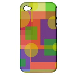 Colorful geometrical design Apple iPhone 4/4S Hardshell Case (PC+Silicone)