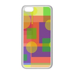 Colorful geometrical design Apple iPhone 5C Seamless Case (White)
