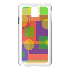 Colorful geometrical design Samsung Galaxy Note 3 N9005 Case (White)