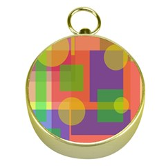 Colorful geometrical design Gold Compasses
