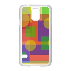 Colorful geometrical design Samsung Galaxy S5 Case (White)