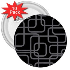 Black and gray decorative design 3  Buttons (10 pack)