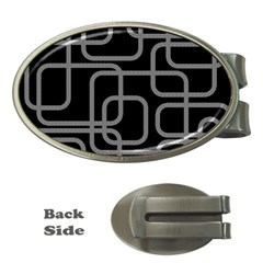 Black and gray decorative design Money Clips (Oval)