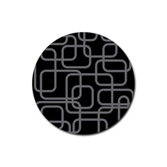 Black and gray decorative design Rubber Round Coaster (4 pack)