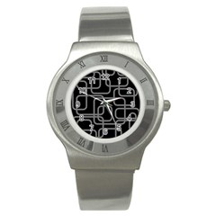 Black and gray decorative design Stainless Steel Watch