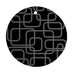 Black and gray decorative design Round Ornament (Two Sides)