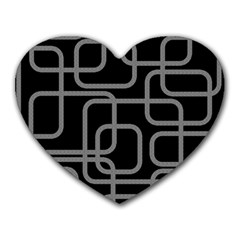 Black and gray decorative design Heart Mousepads